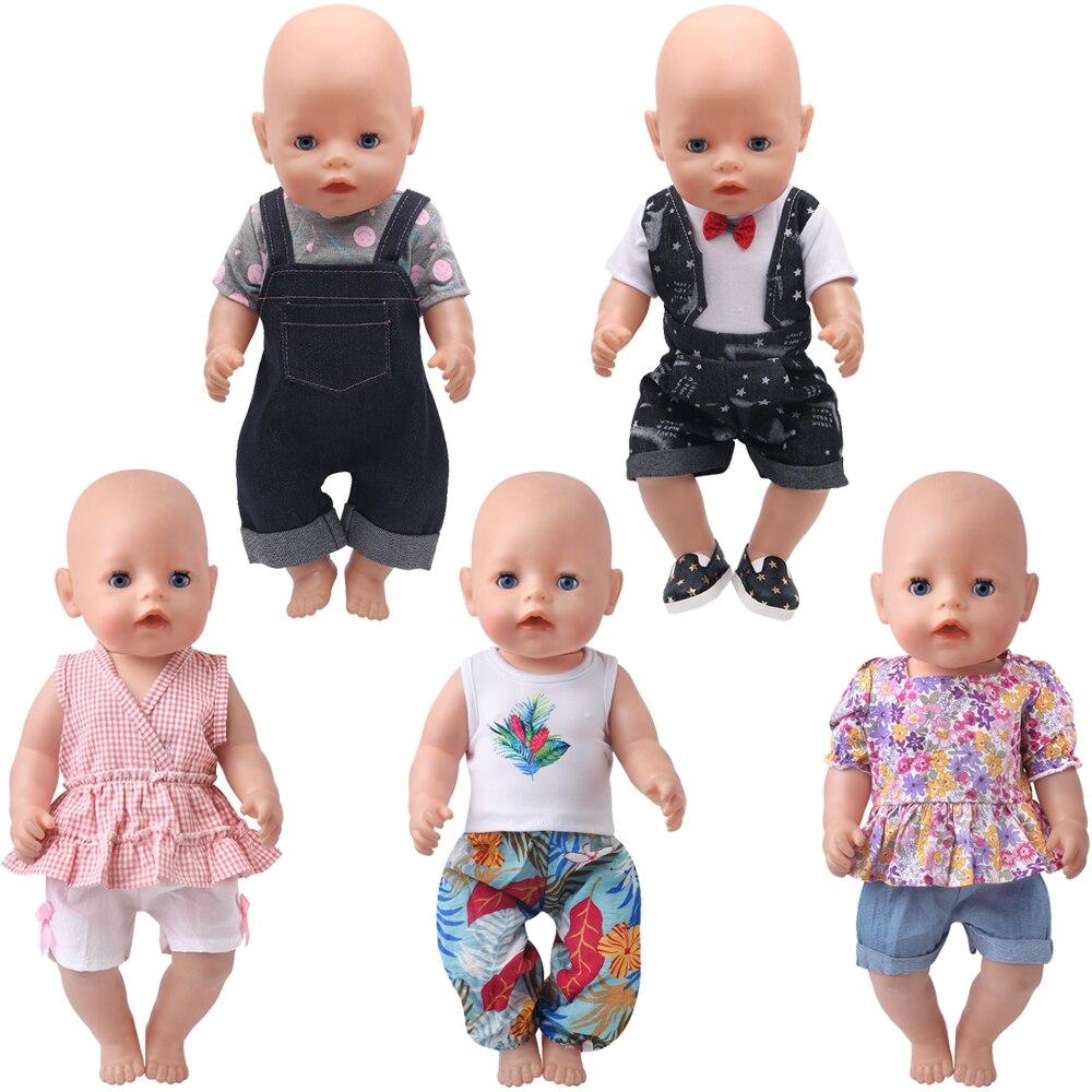 Vêtements de poupées américaines pour garçons et filles de 43 Cm, avec bretelles et robe de plage imprimée, accessoires pour bébés de 18 pouces, a1