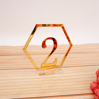 Conjunto de base transparente espelho hexágono números de mesa festa de aniversário do casamento mesa cartão do chuveiro do bebê decoração número titular Placas de direção de festa     -