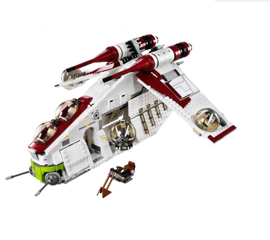 <font><b>05041</b></font> <font><b>Star</b></font> <font><b>Wars</b></font> on Toy Republic Gunship Set StarWars with Lepining 75021 Ship for children Educational Blocks toys image