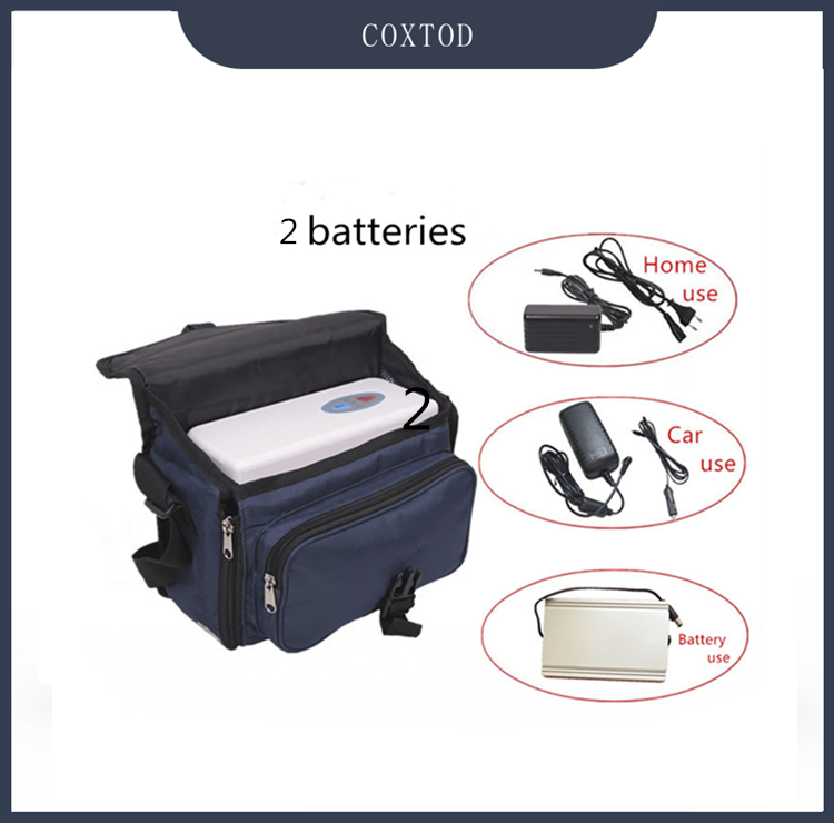 COXTOD Battery Operated Mini Portable Oxygen Concentrator Generator With 2 Batteries Car Adaptor And Carry Bag