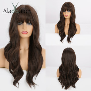 Image 1 - ALAN EATON Long Wavy Black Brown Wigs with Bangs Heat Resistant Synthetic Wigs for Women African American Cosplay Party Wigs