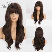 Длинные волнистые черные и коричневые парики ALAN EATON с челкой, термостойкие синтетические парики для женщин, афроамериканские парики для косплея, парики для вечеринки