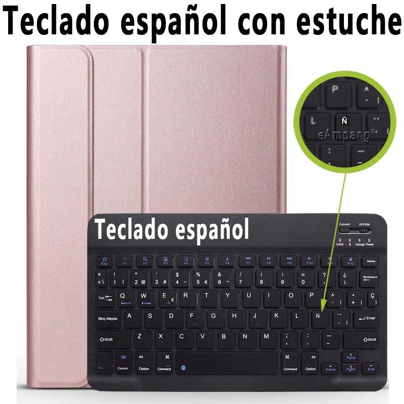 Spanish Keyboard Khaki 3 0 Bluetooth Keyboard Case for iPad 10 2 Case for Apple iPad 7th Generation A2200