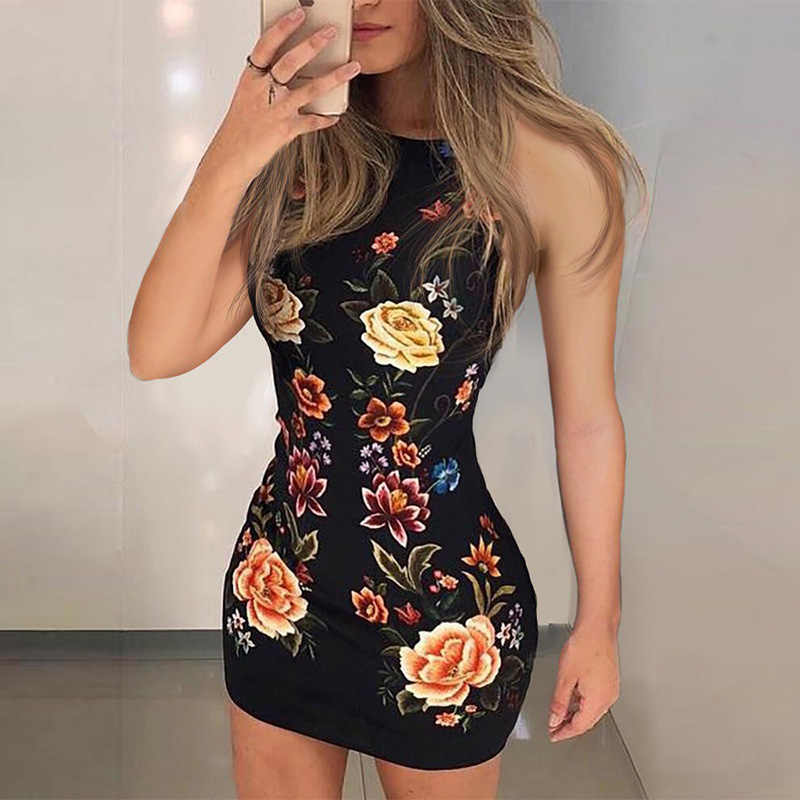 Floral Print Ärmel Bodycon Kleid Frauen Mantel Mini Club Party Kleider