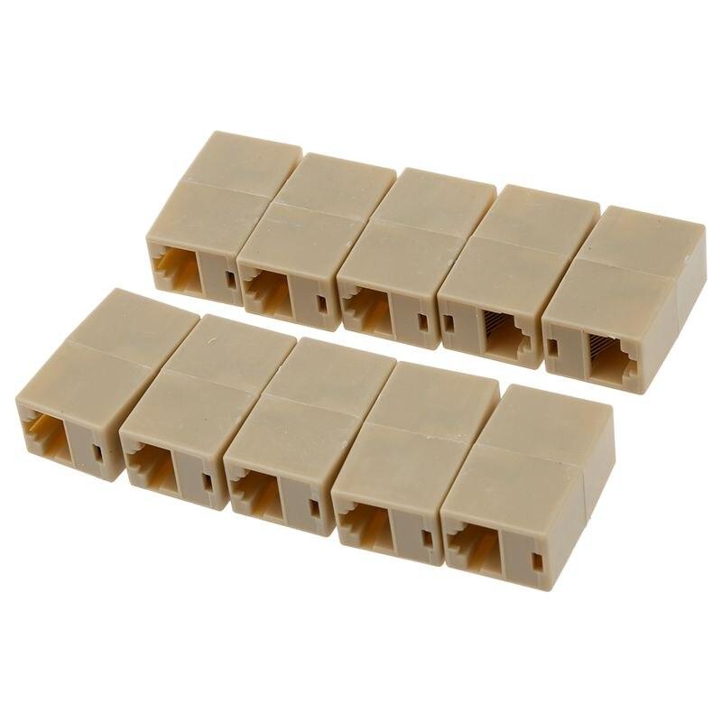 10 X CAT5 RJ45 Network Cable Extender Plug Coupler Joiner Splitter Connector Adapter