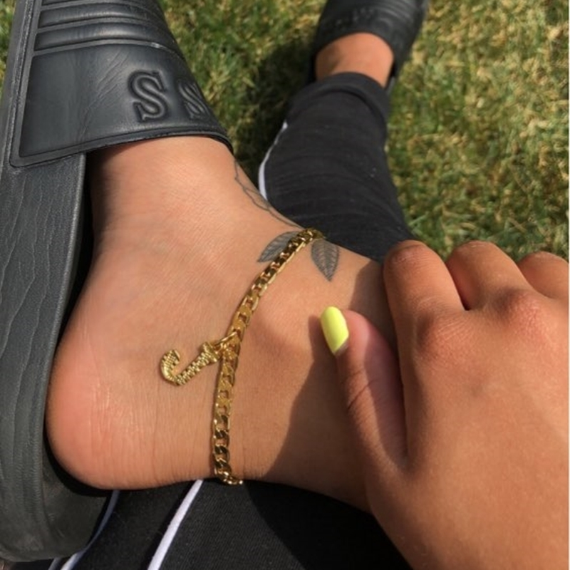 Gold Ankle Bracelet Initial Anklets For Women Gold Stainless Steel Letter Anklet Women Jewelry For Women Браслет На Ногу