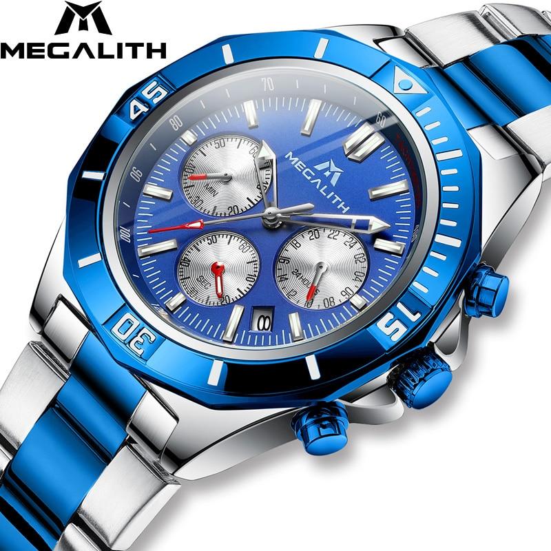 New Mens Watch MEGALITH Top Brand Luxury Waterproof Watch Blue Stainless Luminous Chronograph Quartz Men Watch Relogio Masculino