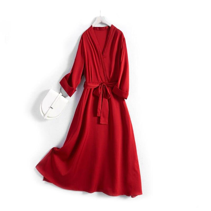 Nerazzurri vermelho preto vestido de seda real verão 2020 v pescoço 3/4 manga faixas de alta qualidade verão mais tamanho vestidos 4xl 5xl 6xl 7xl