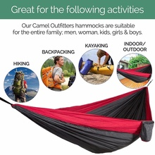 Outdoor Camping Hammock, Portable Parachute Double Person Hammock , Lightweight Nylon Hammock for Backpacking, Camping, Hiking
