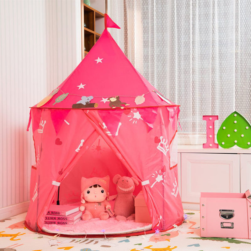 Children Princess Castle Play Tent Kids Game Tent House Portable Playtent Toys For Baby Indoor Outdoor Play House Toys Pink Tent