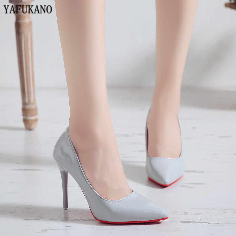 Nude Farbe Kleine Frische High Heels Patent Leder Stiletto Einzelnen Schuhe Koreanische Sexy Spitz Pumps Schwarz Professional Work Schuhe