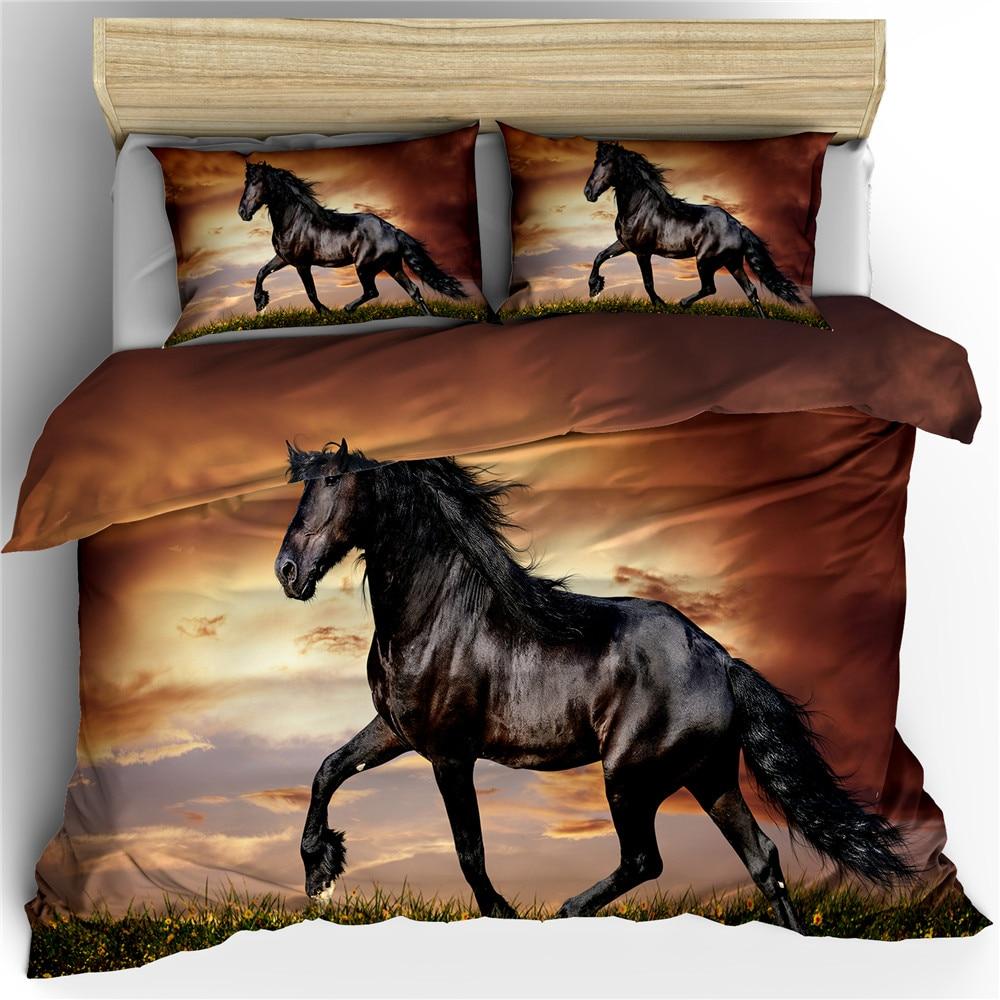 Running Horse 3d Bedding Set King Queen Double Full Twin Single Size Bed Linen Set