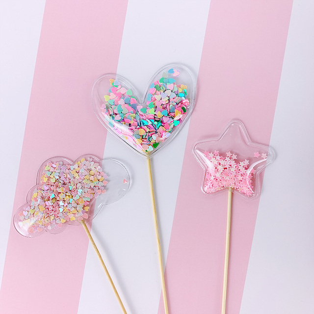 Transparent Sequin Cake Toppers (3)
