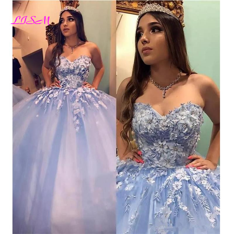 Vintage Sweet Ball Gown Quinceanera Dresses Lace 3D Floral Cinderella Beaded Arabic Vestidos De 15 Anos Long Party Dress
