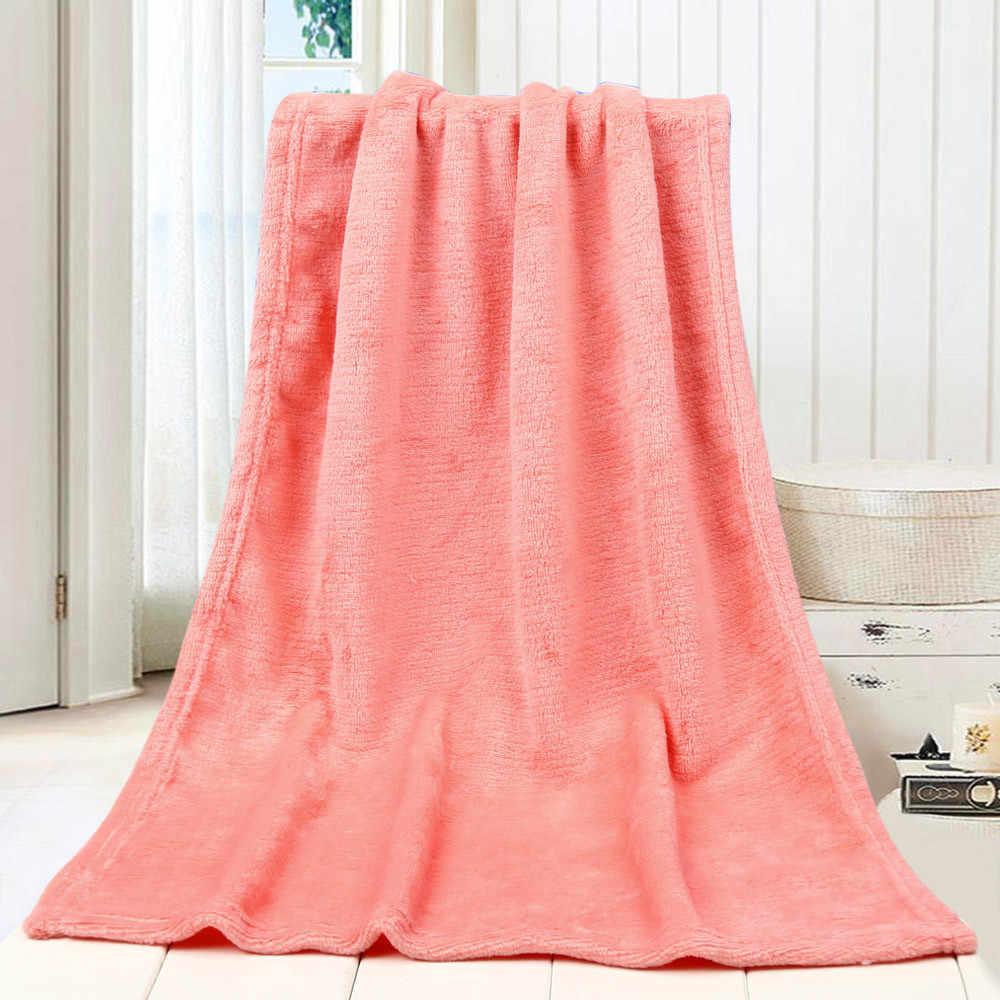 OUNEED mantas 45X65CM moda sólido suave tiro niños manta cálida Coral mantas de franela alfombra sofá ropa de cama nuevo #45