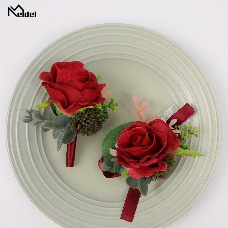 Meldel Silk Flowers Red Wedding Wrist Corsage Bridesmaids Bracelet Groom Boutonniere Wedding Sister Hand Flowers Men Boutonniere