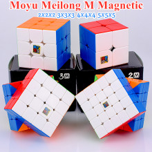 Moyu Meilong M manyetik 2x2x2 3x3x3 sihirli küp 4x4x4 5x5x5 hız küp mıknatıs bulmaca küp 2x2 3x3 cubo magico 4x4 5x5