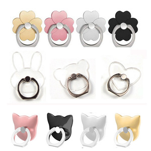 Clear Cat Finger Ring Mobile Phone Stand Holder For iPhone XS Huawei Samsung cell Smart Round Phone Ring holder Car Mount Stand