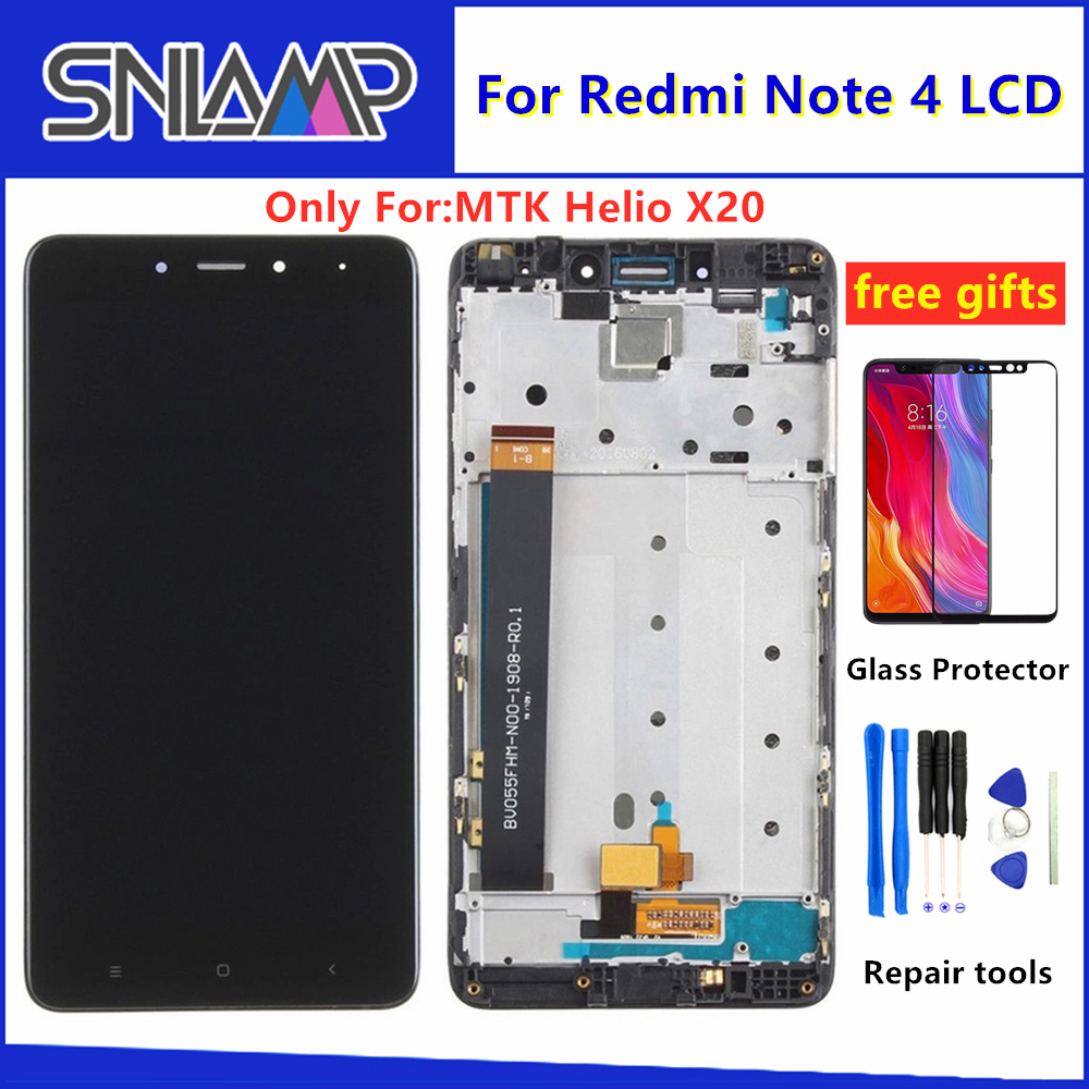 5.5 Inch For Xiaomi <font><b>Redmi</b></font> <font><b>Note</b></font> <font><b>4</b></font> LCD touch <font><b>Screen</b></font> digitizer assembly For <font><b>Redmi</b></font> <font><b>Note</b></font> <font><b>4</b></font> lcd Display <font><b>With</b></font> <font><b>Frame</b></font> for MTK Helio X20 image
