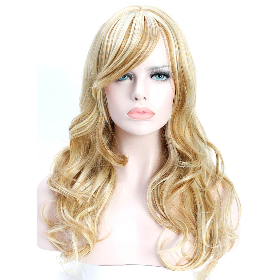 SHANGKE 24'' Long Wavy Hair Wigs Heat Resistant Synthetic Wigs For White Women Natural Female Wig