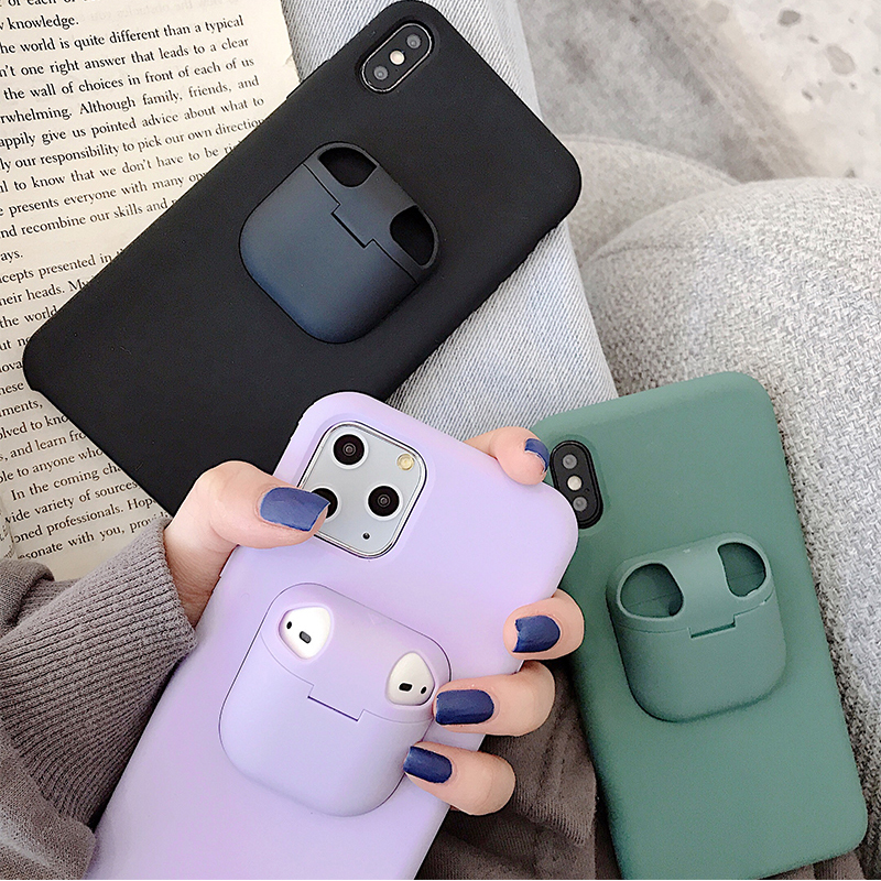 2 In 1 Earphone Storage Box For Airpods 1 2 3 Case For Iphone 11 Pro XR X XS Max 7 8 Plus Headset Phone Cover For Airpods Pro