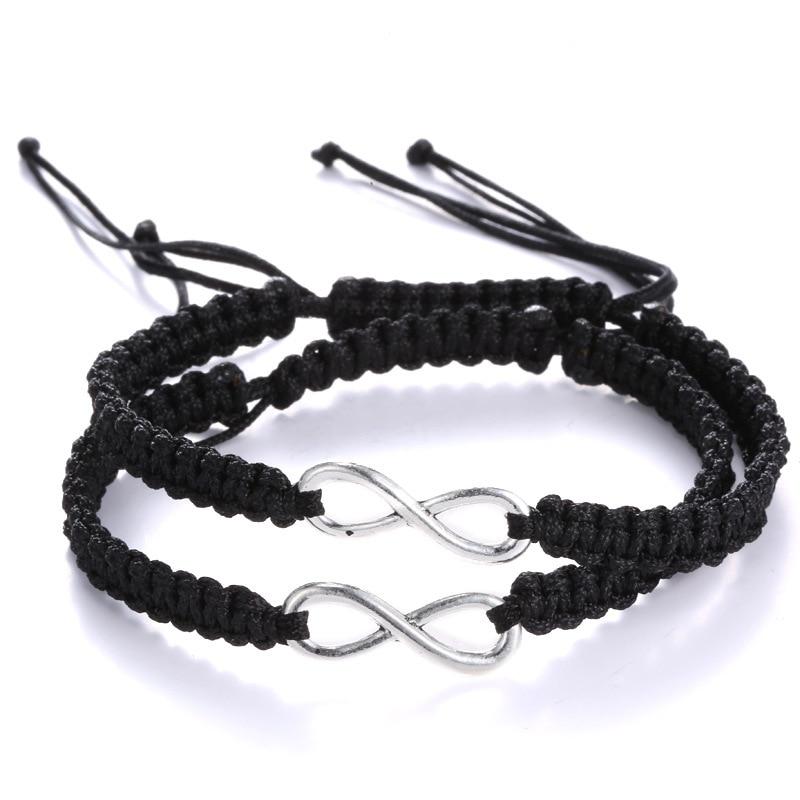 1 par = 2 pçs rosa preto infinito trançado pulseira de fita infinita amizade conjunto amor amigável casais jóias
