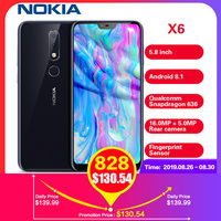 Nokia X6 4G Smartphone 5.8' Android 8.1 Snapdragon 636 Octa Core 6GB 64GB 16.0MP Fingerprint 3060mAh Type C Deep Blue Cellphones