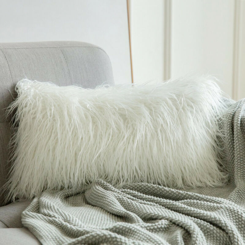 Luxury Series Plush Style Faux Fur Pillow Case Super Soft Throw Winter Warm Cushion Covers For Bedroom Sofa Seat Car <font><b>12X20</b></font> inch image
