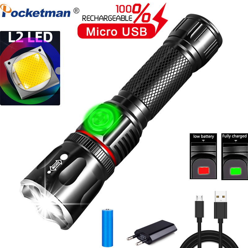 50000LM Multifunctional LED Flashlight L2 T6 USB Rechargeable Battery Powerful COB Zoom Torch Linterna Tail Magnet Work Light