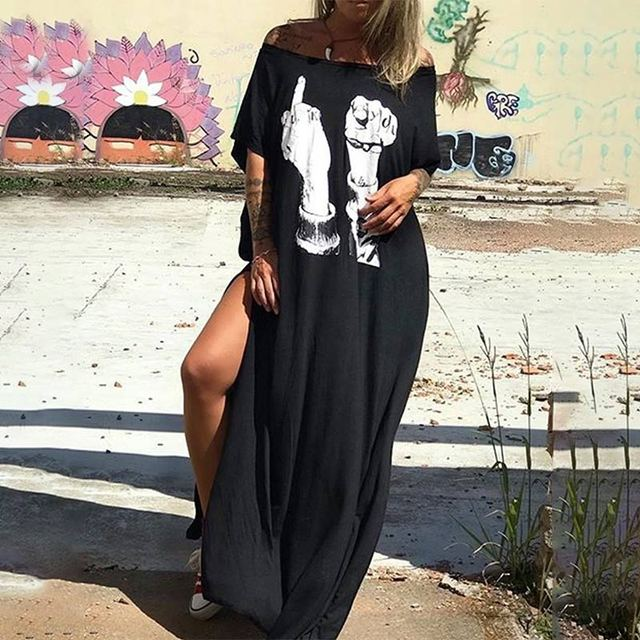Casual Punk Loose Short Sleeve Skull Print Dress 6