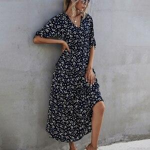 2021 spring new women's high waist Elegant long Boho Dress for womens slim blue floral print beach dress women clothing