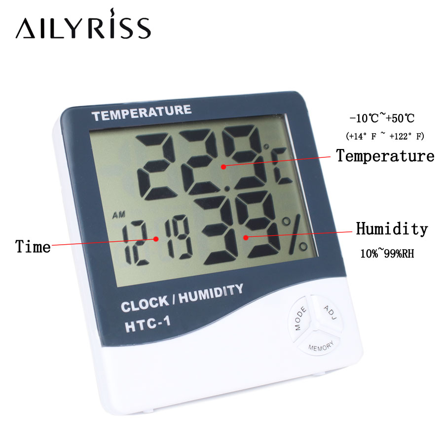 Portable Digital Temperature Humidity Meter Eyelash Extension Electronic LCD Lashes Meter Weather Station Clock