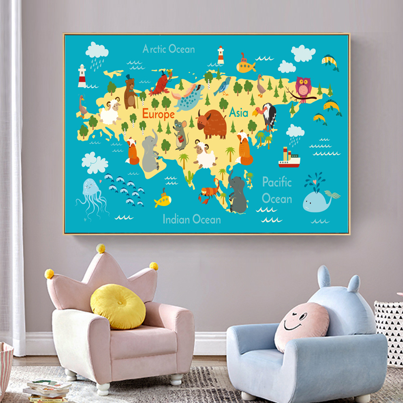 World Map Cartoon Animal Infographic Posters And Prints Nursery Baby Wall Art Canvas Painting For Childrens Room Decoration Home image