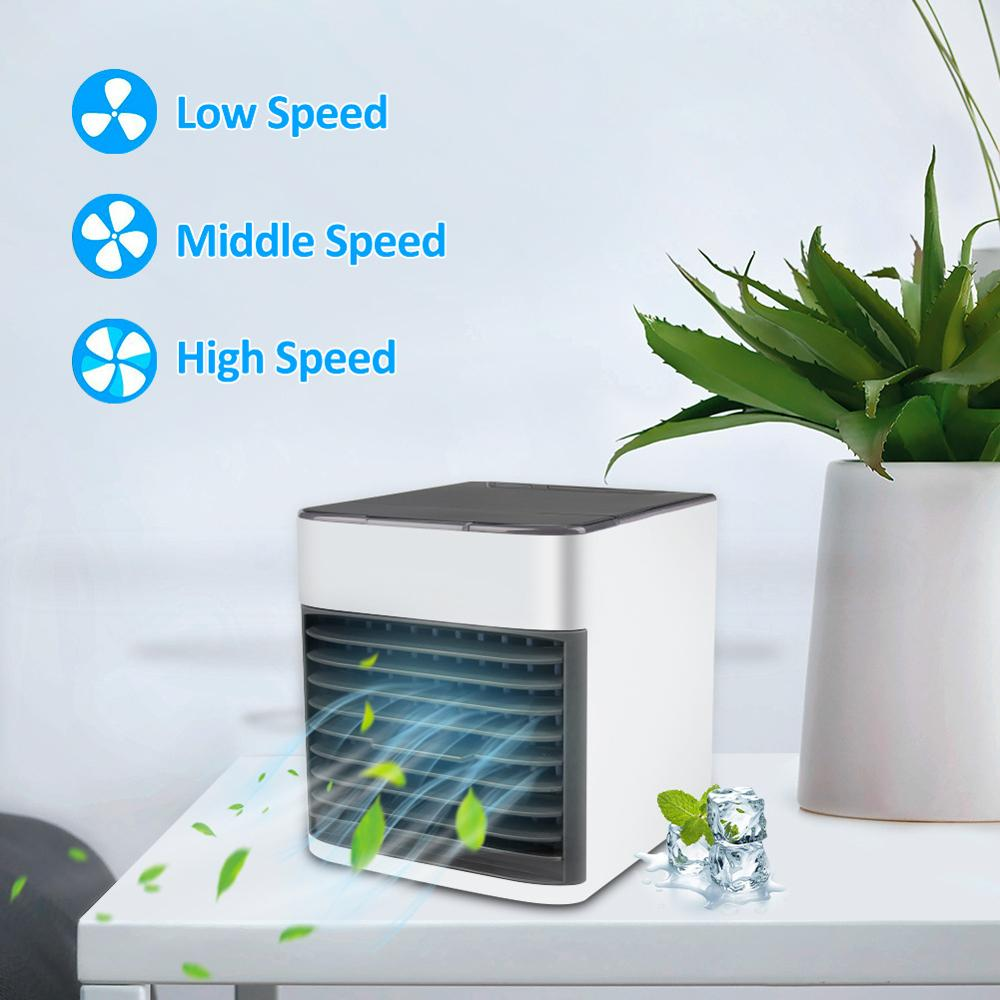 cheapest LCD USB Mini Portable Air Conditioner Humidifier Purifier 7 Colors Light Desktop Air Cooling Fan Air Cooler Fan for Office Home