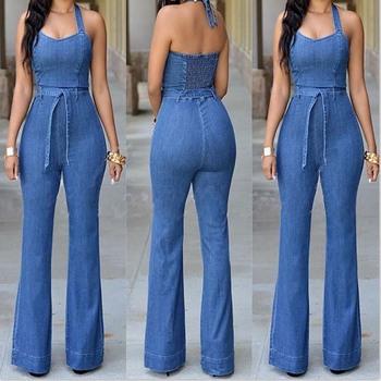 Kobiety niebieski Sexy Fitness kombinezony jeansowe na co dzień Halter bez rękawów kombinezony szczupła kombinezony Plus Size dżinsy pajacyki spodnie z paskiem tanie i dobre opinie Poliester spandex Pełnej długości CN (pochodzenie) Kombinezony i Pajacyki 20-LTK-30 Wełniane WOMEN Stałe Proste Osób w wieku 18-35 lat