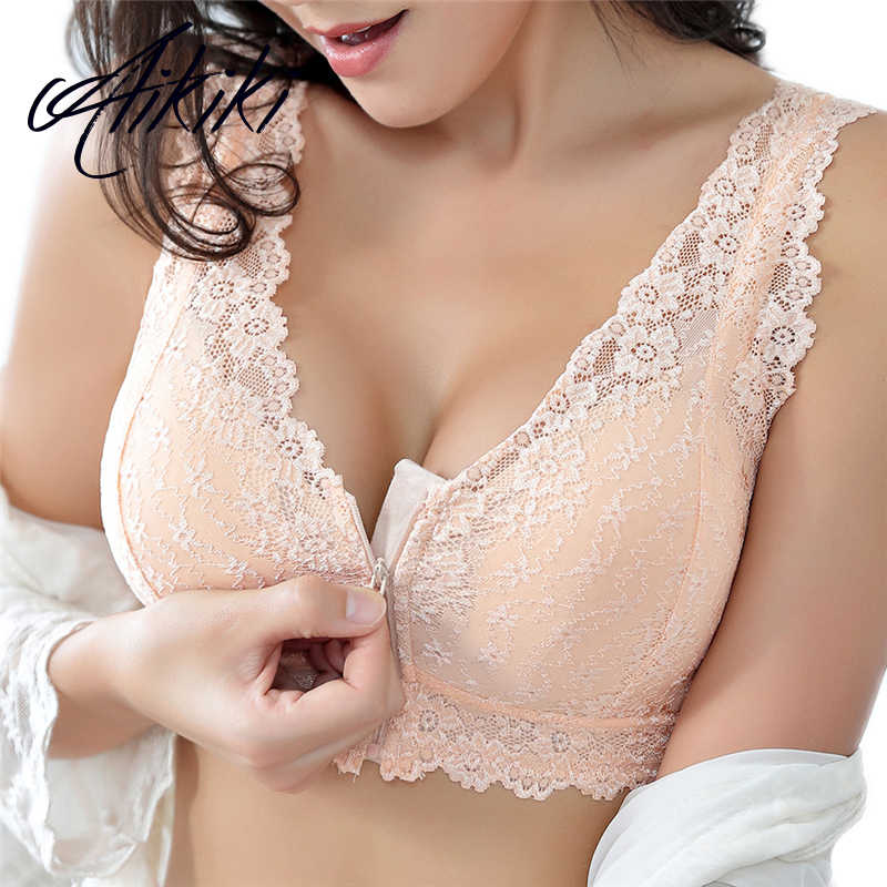 2019 Plus Large Big Size Lace Bras for Women's Bralette BH Underwear Sexy Lingerie Super Push Up Brassiere Girl Minimizer Deep V