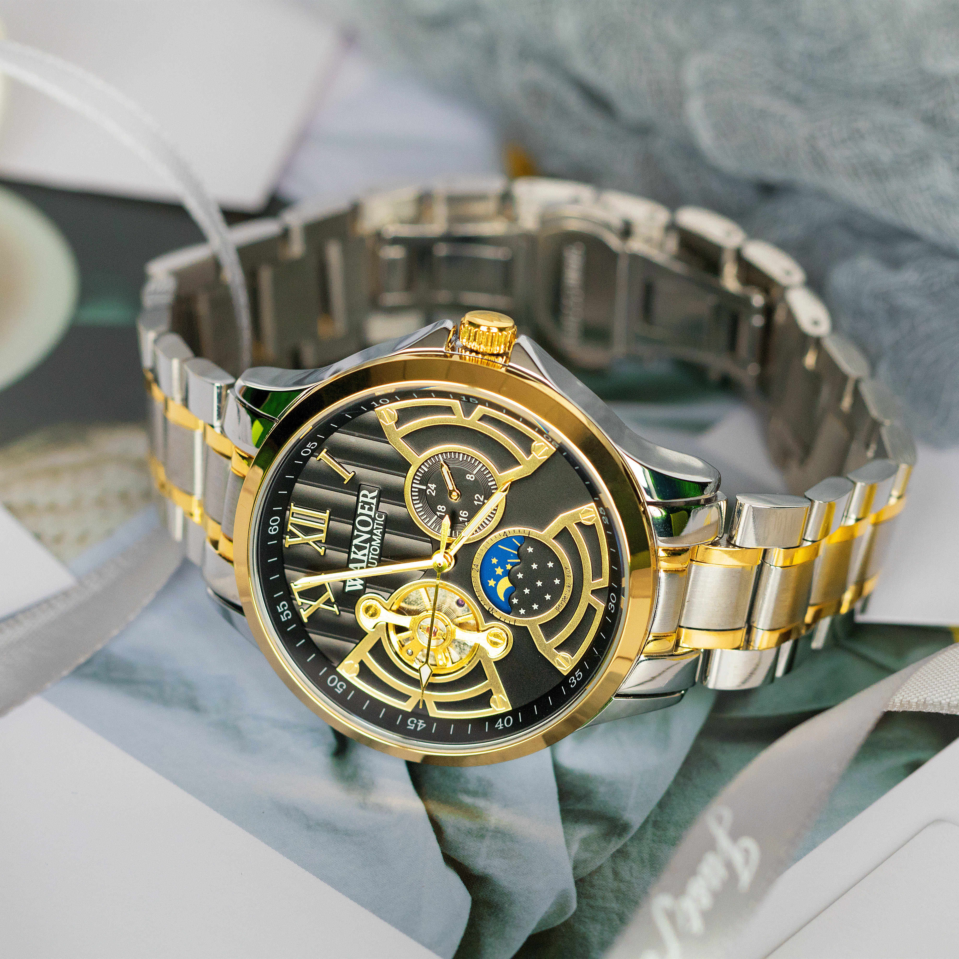 Hcee486c3243643b08196530c52859f47A WAKNOER Automatic Mechanical Watch Men Stainless Waterproof Moon Phase Luminous Luxury Gold  Business Tourbillon Montre Homme
