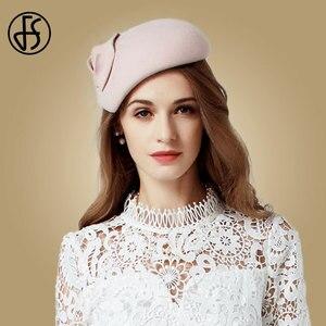 Image 5 - FS beyaz yün Fascinator şapka kadınlar için keçe pembe Pillbox şapkalar siyah bayanlar Vintage moda düğün Derby Fedora Chapeau Femme
