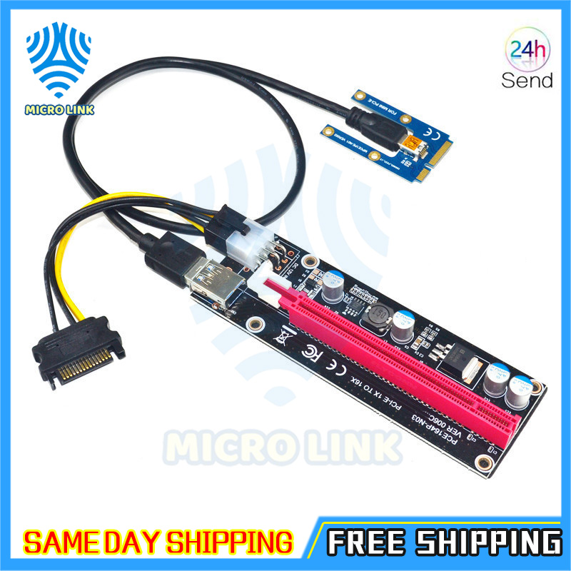 Mini PCIe to PCI express 16X Riser for Laptop External Graphics Card EXP GDC BTC Antminer Miner mPCIe to PCI-e slot Mining Card-2