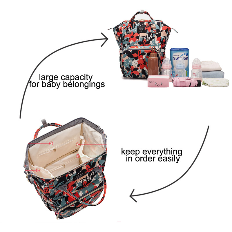 Lequeen Diaper Bag Large Capacity Mummy Backpack Ergonomic Baby Care Backpacks Ourdoor Travel Dry and Wet Infant Nappy Bag