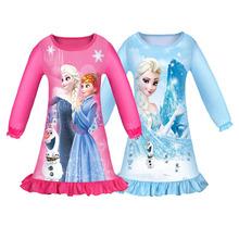 2020 dziewczęta piżamy sukienki Anna Elsa Cartoon bielizna nocna sukienka odzież dla dzieci królowa śniegu dziewczyna księżniczka sukienka urodziny Vestidos tanie tanio XJYIYUANLC COTTON Poliester Kolan O-neck Dziewczyny REGULAR Pełna Śliczne Pasuje prawda na wymiar weź swój normalny rozmiar