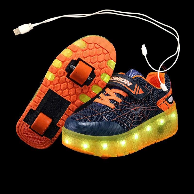 Zapatos con Ruedas Zapatillas con Dos Ruedas para ni/ños y ni/ña Led Luces Zapatillas con Ruedas Se Puede Bambas con Ruedas Autom/ática Calzado de Skateboarding