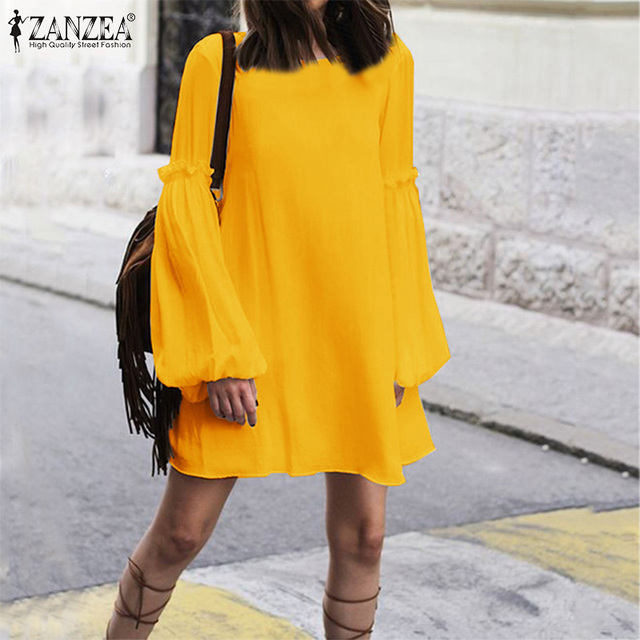 Women's Dress ZANZEA Bohemian Loose Long Shirt Dresses Fashion Ladies Sexy Lace Up Backless Vestidos Short Dresses Plus Size 5XL 1
