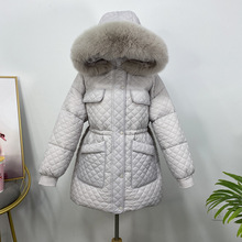 Down-Jacket Real-Fur-Collar 90%White-Duck-Down Winter Women Outwear Snow-Coat Long Warm