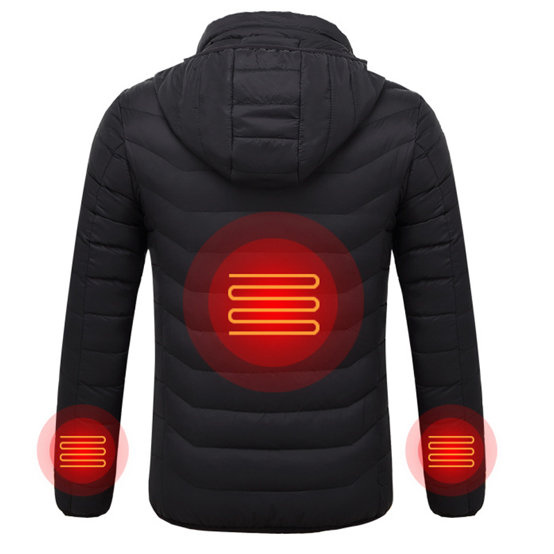 Men's Electric Heated Jackets USB Heating Winter Solid Parka Men Long Sleeve Hooded Thermal Winter Coat Men Outerwear Fashion