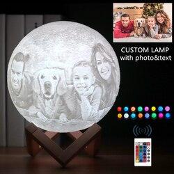Прямая поставка фото и текст на заказ 3D печать луна лампа ночник светильник USB Перезаряжаемый персональный подарок для рождества праздника ...