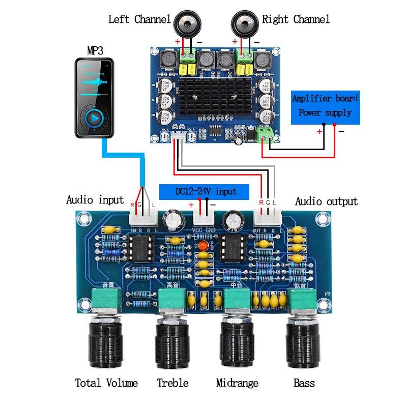 Digital Amplifier Board NE5532 Tone Board Preamp Pre-amp With Treble Bass Volume Adjustment Pre-amplifier Tone Controller