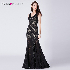 Image 4 - Sexy Black Lace Evening Dresses Long Ever Pretty Double V Neck Ruched See Through Little Mermaid Party Gowns Abiye Gece Elbisesi