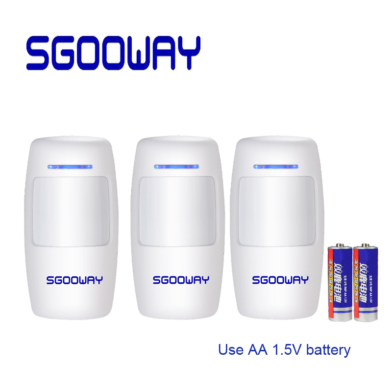 Sgooway Wireless Intelligent PIR Motion Sensor Alarm Detector For GSM PSTN WIFI Alarm System Built-in Antenna USE AA Battery