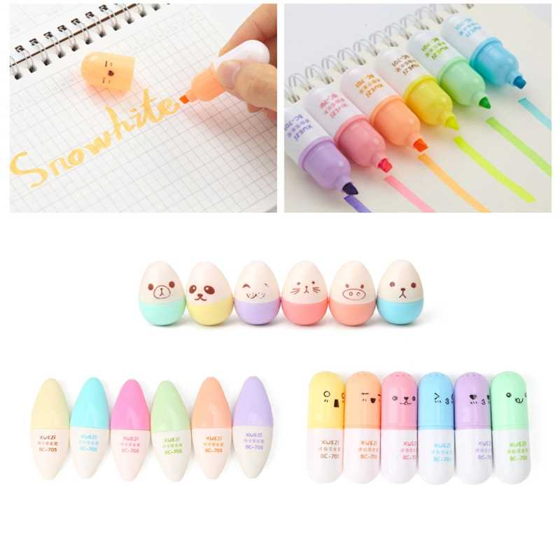 6 pcs/set Mini Highlighter Pen Pill Leaves Eggs Shaped Highlighter Pens For Writing dropshipping